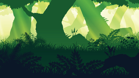 A high quality background of landscape with deep forest in Flat style.