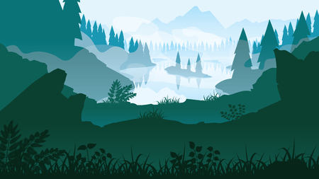A high quality background of landscape with river, forest and mountains. Background of a mountain landscape. Flat style.  イラスト・ベクター素材