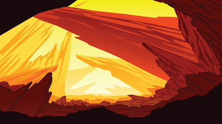 A high quality background of fantastic mountain landscape, Background of dry planet in Flat style.