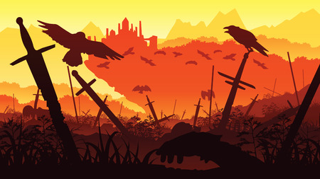 A high quality background of landscape with the fallen soldiers in the battle for the castle. Background of a swords and crows. Flat style. 일러스트