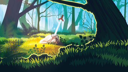 A high quality background of landscape with field, trees and stone with a sword. Ilustrace