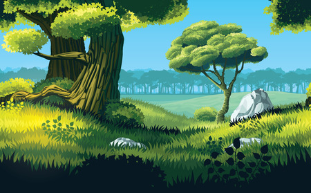 A high quality horizontal seamless background of landscape with deep forest. Horizontal tiles. For use in developing, prototyping  adventure, side-scrolling games or apps. Illustration
