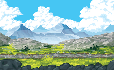 A high quality horizontal seamless background of landscape with rocks and mountains. Horizontal tiles. For use in developing, prototyping  adventure, side-scrolling games or apps.