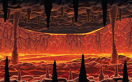 A high quality horizontal seamless background of landscape - infernal hot cave with lava. Horizontal tiles. For use in developing, prototyping  adventure, side-scrolling games or apps.