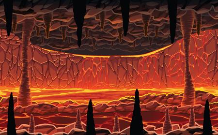Ein hochwertiger horizontaler nahtloser Hintergrund der Landschaft - höllische heiße Höhle mit Lava. Horizontale Kacheln. Zur Verwendung bei der Entwicklung, Prototyping-Abenteuer, Side-Scrolling-Spielen oder Apps. Vektorgrafik