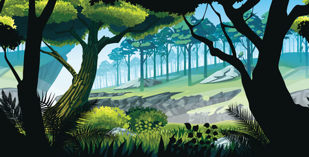 A high quality background of landscape with rocks, mountains and forest. Ilustrace