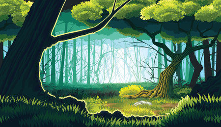 A high quality horizontal seamless background of landscape with deep forest. Horizontal tiles. For use in developing, prototyping  adventure, side-scrolling games or apps. Иллюстрация