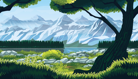 A high quality horizontal seamless background of landscape with river, forest and mountains. Horizontal tiles. For use in developing, prototyping  adventure, side-scrolling games or apps.
