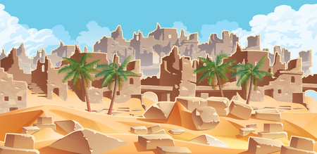 A high quality horizontal background with desert and palms. City ruins on the horizon. For use in developing, prototyping  adventure, side-scrolling games or apps.  イラスト・ベクター素材