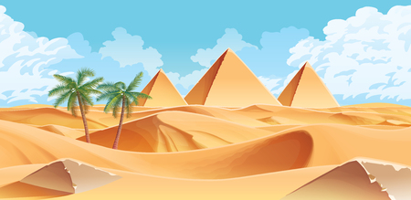 A high quality horizontal background with desert and palms. Pyramids on the horizon. For use in developing, prototyping  adventure, side-scrolling games or apps. 일러스트