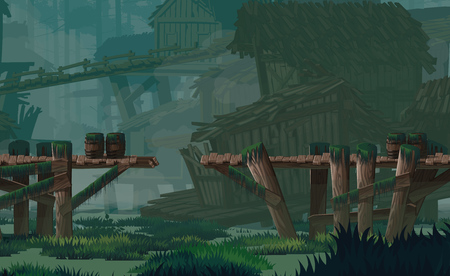 A high quality horizontal background swamp city location. Swampabandoned wooden huts, wooden bridges. For use in developing, prototyping  adventure, side-scrolling games or apps.