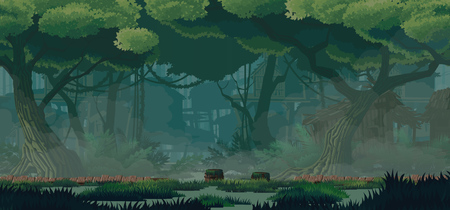 A high quality horizontal background swamp city location. Swampabandoned wooden huts, wooden bridges. For use in developing, prototyping  adventure, side-scrolling games or apps. 写真素材 - 125801187