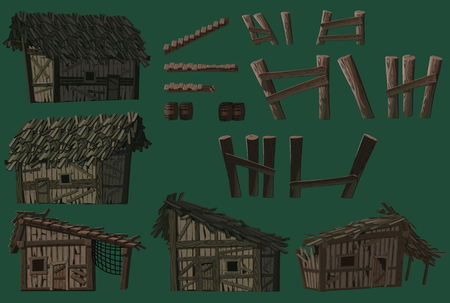 Game objects. Swampabandoned wooden huts, wooden bridge parts. For use in developing, prototyping  adventure, side-scrolling games or apps.  イラスト・ベクター素材