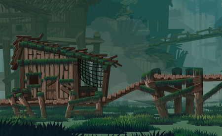 A high quality horizontal background swamp city location. Swampabandoned wooden huts, wooden bridges. For use in developing, prototyping  adventure, side-scrolling games or apps. 写真素材 - 125801191
