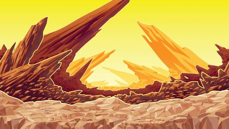 A high quality background of fantastic mountain landscape. Background of dry planet. Horizontal tiles. For use in developing, prototyping  adventure, side-scrolling games or apps. Çizim