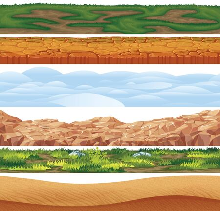 6 Seamless grounds, soils and land vector set for side-scrolling games or apps. Illustration of a set of seamless grounds, soils and land foreground area with grass, snow, rock, desert and sand.