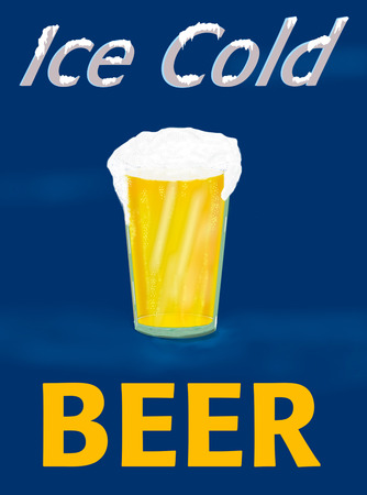 Ice Cold Beer Graphic or Sign.