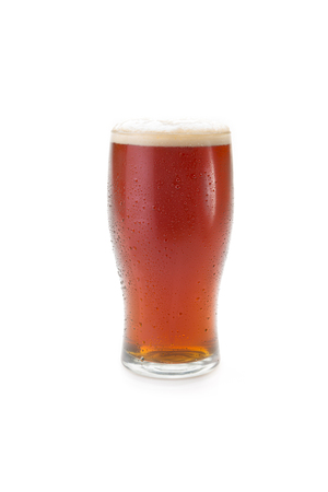 Beer in a Pint Glass Isolated on a White Background