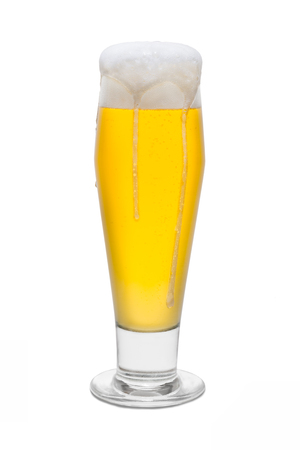 Classic Beer with Foam Head and Drips Running Over Rim #2.