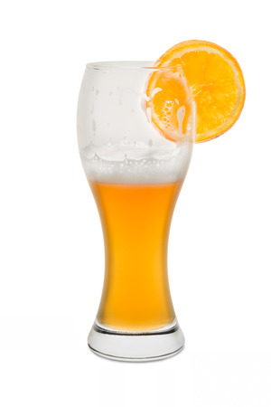 Isolated Wheat Beer, Half Full with Orange Slice.