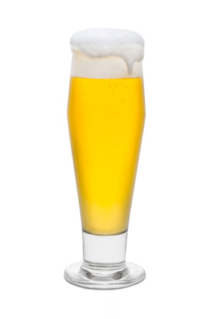 Classic Beer with Foam Head and Drip Running Over Rim #1.