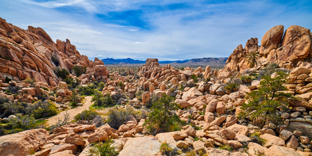Enterence to Box Canyon at Joshua Tree National Park. Stock Photo