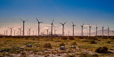 Windmills in the early morning with blue sky. Stock Photo