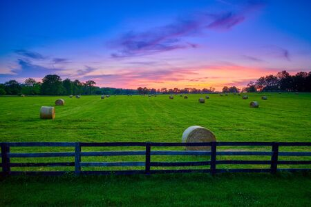 Round hay bails in a field at sunset with fence in the foreground.