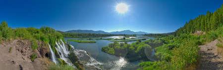 Panorama of Fall Creek Falls in the morning.