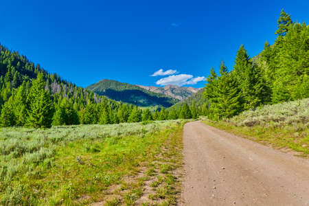 Mountain road, East Fork Road to McCall, Idaho. 写真素材
