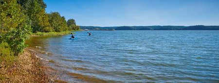 Kayakers on Kentucky Lake near Kenlake State Resort Park, Kentucky.