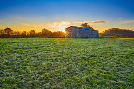 Tobacco barn at sunrise in Gravel Switch, Kentucky.