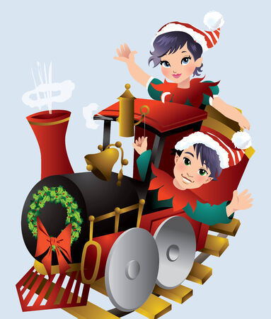 santa helper: Christmas Train Illustration