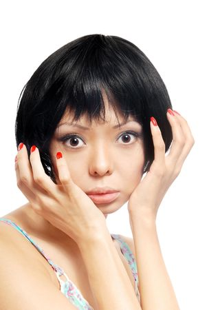 Emotional photo of the pretty model with red nails Stock Photo - 2739230