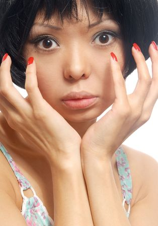 Close-up portrait of the pretty woman with nails Stock Photo - 2739190