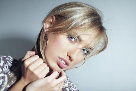 Close-up portrait of the beautiful lady with good makeup Stock Photo - 4266318