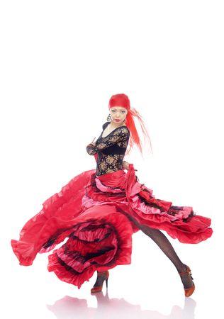 Dame in Gypsy kostuum dansen flamenco op een witte achtergrond Stockfoto