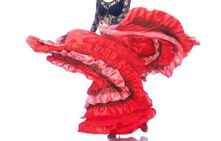 Close-up foto van de dame in zigeuner kostuum dansen flamenco