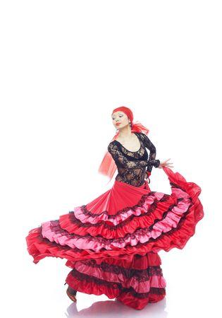 Lady in Gypsy costume dancing flamenco Standard-Bild