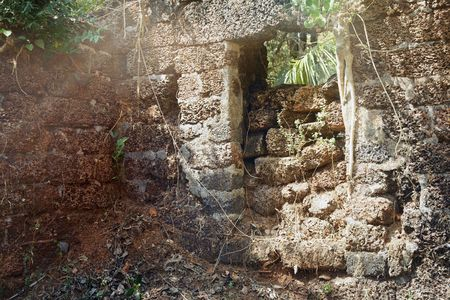 Old stony ruins of the ancient temple in the jungle of India. Horizontal photo with sunlight Stock Photo - 6643572