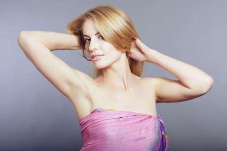 Beautiful lady posing in the studio photo
