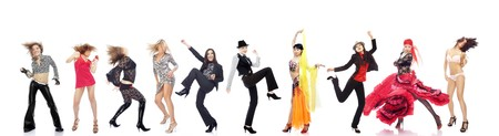 Group of the various women performing different dances on a white background photo