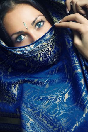 Elegant lady with blue eye lens in traditional Indian sari Standard-Bild