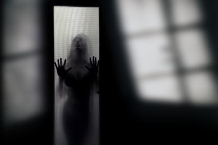Silhouette der weiblichen heimischer hinter die Glastür im dunklen Innenraum mit Schatten Standard-Bild - 9349642