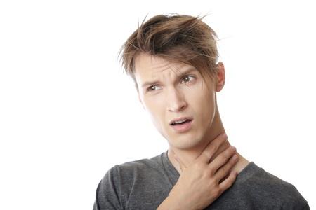 Mann mit Schmerzen in den Hals Standard-Bild - 10024009