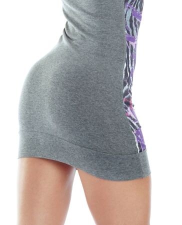 Rear view on the woman back in stylish dress