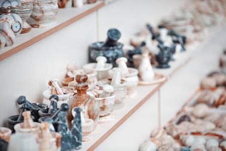 Onyx handmade things at flee market Imagens