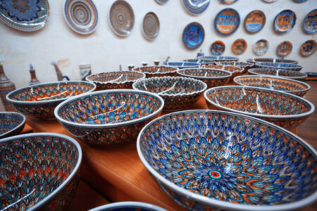 Ceramic art at pottery shop  Turkey Imagens