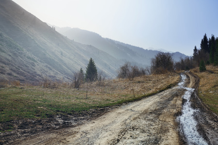 Country road in mountain area of Europe