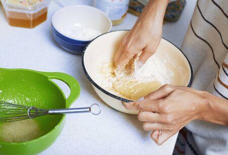 Hands of the woman preparing pie pastry Standard-Bild